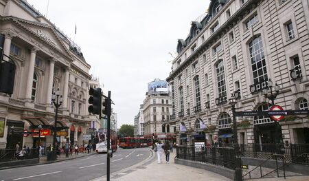 London, UK - August 12, 2010: View of Piccadilly Circus, famous road junction, built in 1819, meeting place, tourist attraction, in West End, inks to Shaftesbury Avenue, Regent Street, Haymarket, Leicester Square and Glasshouse Street.  Stock Photo - 13257051
