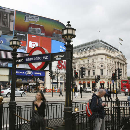 London, UK - August 12, 2010: View of Piccadilly Circus, famous road junction, built in 1819, meeting place, tourist attraction, in West End, inks to Shaftesbury Avenue, Regent Street, Haymarket, Leicester Square and Glasshouse Street.