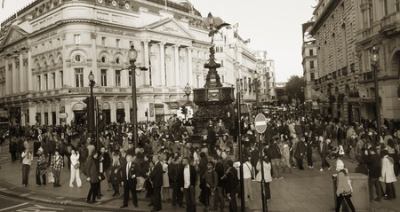 London, UK - October 30, 2010: View of Piccadilly Circus, famous road junction, built in 1819, meeting place, tourist attraction, in West End, inks to Shaftesbury Avenue, Regent Street, Haymarket, Leicester Square and Glasshouse Street.  Stock Photo - 13257047