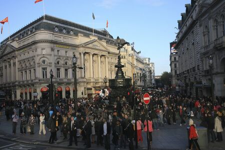 London, UK - October 30, 2010: View of Piccadilly Circus, famous road junction, built in 1819, meeting place, tourist attraction, in West End, inks to Shaftesbury Avenue, Regent Street, Haymarket, Leicester Square and Glasshouse Street.  Stock Photo - 13257063