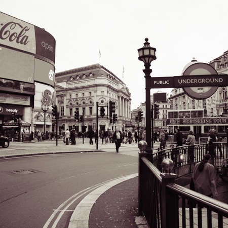 London, UK - November 6, 2010: View of Piccadilly Circus, famous road junction, built in 1819, meeting place, tourist attraction, in West End, inks to Shaftesbury Avenue, Regent Street, Haymarket, Leicester Square and Glasshouse Street.
