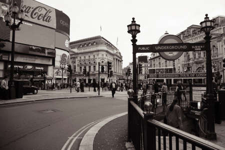London, UK - November 6, 2010: View of Piccadilly Circus, famous road junction, built in 1819, meeting place, tourist attraction, in West End, inks to Shaftesbury Avenue, Regent Street, Haymarket, Leicester Square and Glasshouse Street. Stock Photo - 13257046