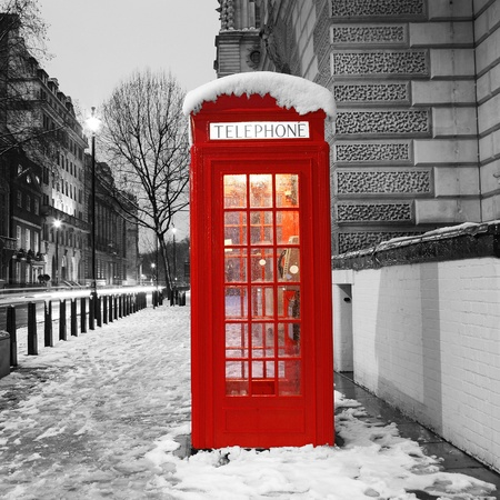 winter night: London Red Telephone Booth at dawn Stock Photo