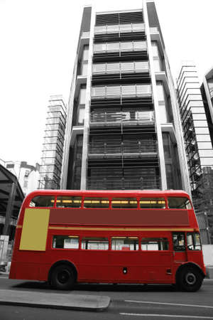 Route Master Bus in the street of London. Route Master Bus is the most iconic symbol of London as well as Londons Black cabs.