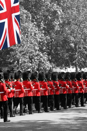 London, UK - June 17, 2006: Queens soldiers marching at Trooping the Colour ceremony, also known as the Queens Birthday Parade