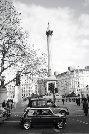 London, UK - January 30, 2011: Trafalgar Square, City of Westminster, public space, tourist attraction. As one of the most popular tourist attraction in London have more than fifteen million visitors a year.
