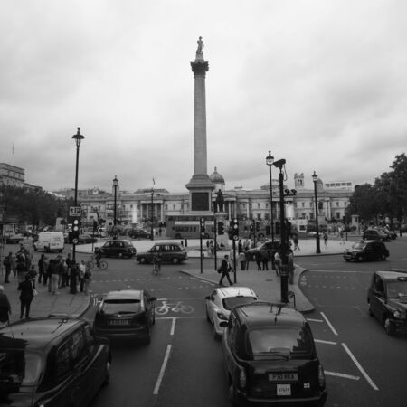 London, UK - August 17, 2010: Trafalgar Square, City of Westminster, public space, tourist attraction. As one of the most popular tourist attraction in London have more than fifteen million visitors a year.