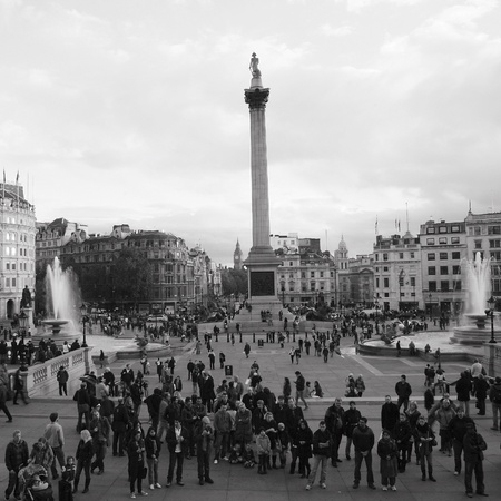 London, UK - November 6, 2010: Trafalgar Square, City of Westminster, public space, tourist attraction. As one of the most popular tourist attraction in London have more than fifteen million visitors a year.