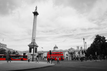London, UK - August 19, 2010: Trafalgar Square, City of Westminster, public space, tourist attraction. As one of the most popular tourist attraction in London have more than fifteen million visitors a year.