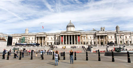 London, UK - August 19, 2010: Trafalgar Square, City of Westminster, public space, tourist attraction. As one of the most popular tourist attraction in London have more than fifteen million visitors a year.   Stock Photo - 13580864