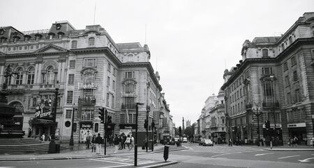 shaftesbury: London, UK - August 12, 2010: View of Piccadilly Circus, famous road junction, built in 1819, meeting place, tourist attraction, in West End, inks to Shaftesbury Avenue, Regent Street, Haymarket, Leicester Square and Glasshouse Street. Editorial