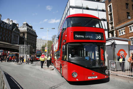 London, UK - April 30, 2012 : New Bus For London, also called Boris Bus or hybrid NB4L, is 21st century replacement of the iconic Routemaster as a bus built specifically for use in London.