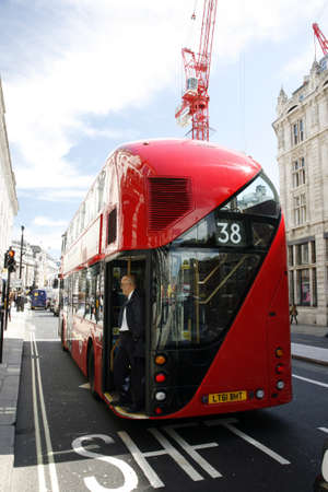 route master bus: London, UK - April 30, 2012 : New Bus For London, also called Boris Bus or hybrid NB4L, is 21st century replacement of the iconic Routemaster as a bus built specifically for use in London.