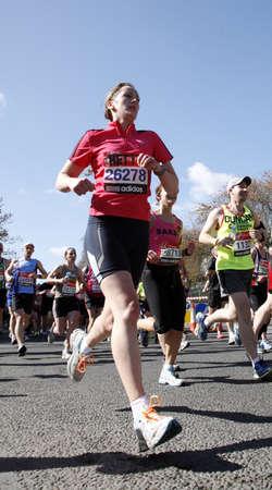 majors: London, UK - April 22, 2012: Runners in London Marathon. The London Marathon is next to New York, Berlin, Chicago and Boston to the World Marathon Majors, the Champions League in the marathon. Editorial