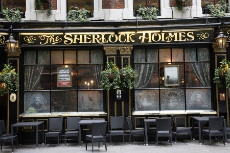 London, UK - May 06, 2012: Outside view of a public house, known as pub, for drinking and socializing, is the focal point of the community, Pub business, now about 53,500 pubs in the UK, has been declining every year.