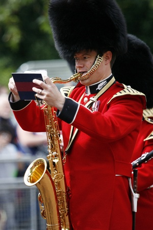 London, UK - June 16, 2012: Queens Bands at Queens Birthday Parade. Queens Birthday Parade take place to Celebrate Queens Official Birthday in every June in London.
