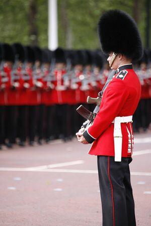 London, UK - June 16, 2012: Queens Soldier at Queens Birthday Parade. Queens Birthday Parade take place to Celebrate Queens Official Birthday in every June in London.