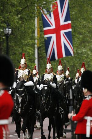 London, UK - June 16, 2012: Household Cavalry at Queens Birthday Parade. Queens Birthday Parade take place to Celebrate Queens Official Birthday in every June in London.