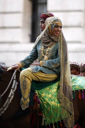 London, UK - June 13, 2012: Member of Royal Omani Bands at Beating Retreat 2012. Beating Retreat is a military ceremony takes place on Horse Guard Parade in White Hall, London. This ceremony is performed by military band like bands of the Foot Guards and
