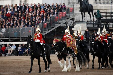 London, UK - June 13, 2012: Mounted Bands at Beating Retreat 2012. Beating Retreat is a military ceremony takes place on Horse Guard Parade in White Hall, London. This ceremony is performed by military band like bands of the Foot Guards and Household Cava