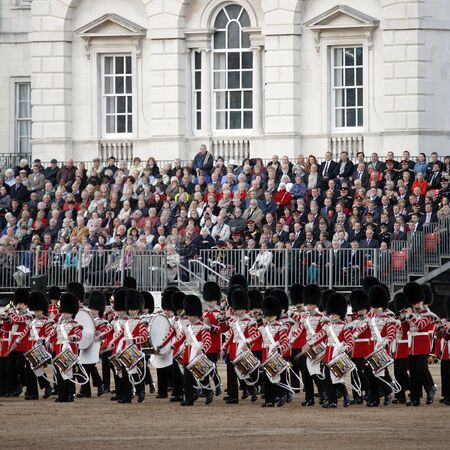 London, UK - June 13, 2012: Massed Bands at Beating Retreat 2012. Beating Retreat is a military ceremony takes place on Horse Guard Parade in White Hall, London. This ceremony is performed by military band like bands of the Foot Guards and Household Caval