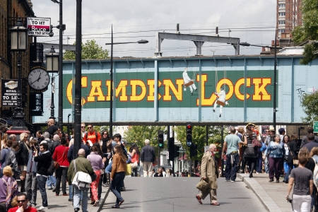 old town: London, UK - June 17, 2012: The view of Camden Market, in Camden Town, also called Camden Lock. The Market is one of the most popular attraction in London attracting about 100,000 visitors each weekend.    Editorial