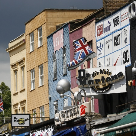 London, UK - June 17, 2012: The view of Camden Market, in Camden Town, also called Camden Lock. The Market is one of the most popular attraction in London attracting about 100,000 visitors each weekend.    Stock Photo - 14311991