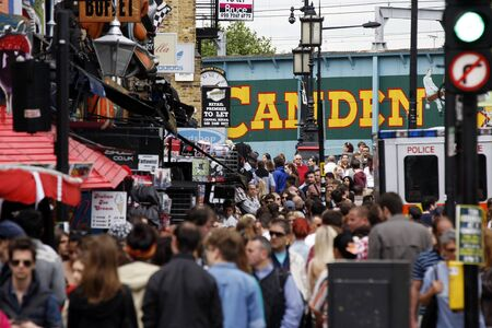 London, UK - June 17, 2012: The view of Camden Market, in Camden Town, also called Camden Lock. The Market is one of the most popular attraction in London attracting about 100,000 visitors each weekend.    Stock Photo - 14312005