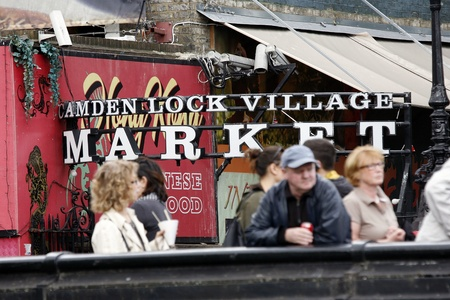 London, UK - June 17, 2012: The view of Camden Market, in Camden Town, also called Camden Lock. The Market is one of the most popular attraction in London attracting about 100,000 visitors each weekend.   Stock Photo - 14311999