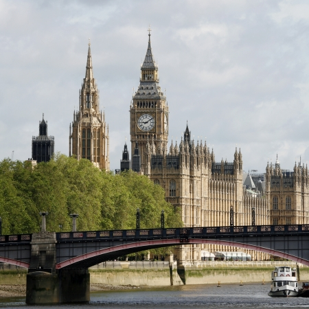 place of interest: London skyline, Westminster Palace, Big Ben and Central Tower, seen from South Bank