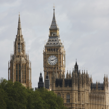 westminster: London skyline, Westminster Palace, Big Ben and Central Tower, seen from South Bank