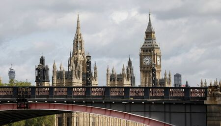 London skyline, Westminster Palace, Big Ben and Central Tower, seen from South Bank photo