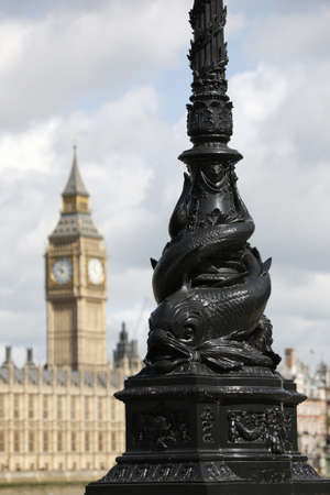 lampost: Big Ben and lampost  seen from South Bank Stock Photo