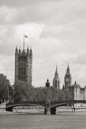 London skyline, Westminster Palace, Big Ben and Victoria Tower, seen from South Bank Stock Photo - 14460541