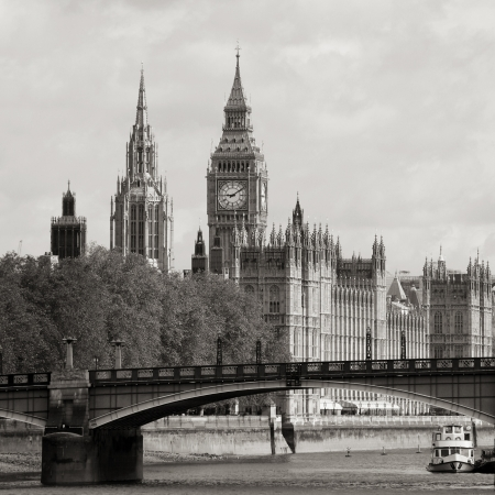 London skyline, Westminster Palace, Big Ben and Victoria Tower, seen from South Bank