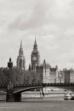 London skyline, Westminster Palace, Big Ben and Victoria Tower, seen from South Bank  Stock Photo - 14460530