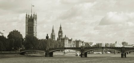 London skyline, Westminster Palace, Big Ben and Victoria Tower, seen from South Bank Stock Photo - 14460461