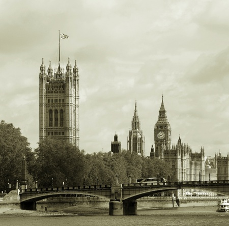 London skyline, Westminster Palace, Big Ben and Victoria Tower, seen from South Bank  Stock Photo - 14460529