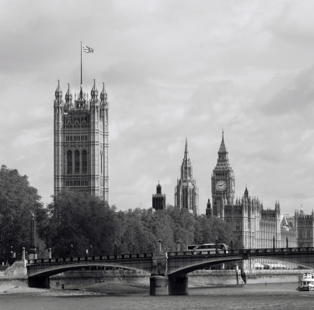 London skyline, Westminster Palace, Big Ben and Victoria Tower, seen from South Bank  photo