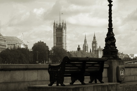 London skyline, Westminster Palace, Big Ben and Victoria Tower, seen from South Bank Stock Photo - 14460536