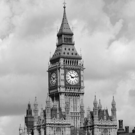 Big Ben, seen from South Bank, on a overcast sky photo