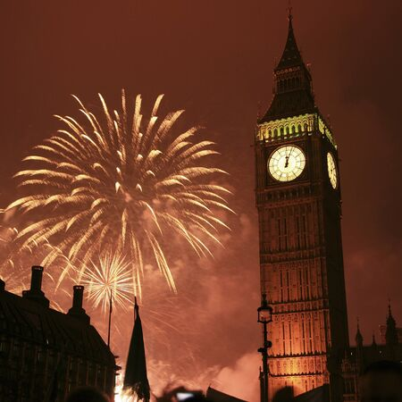 2011, Fireworks over Big Ben at midnight photo