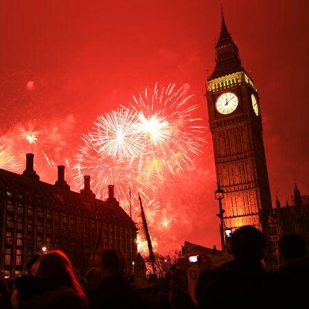 2011, Fireworks over Big Ben at midnight photo