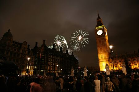 2012, Fireworks over Big Ben at midnight photo