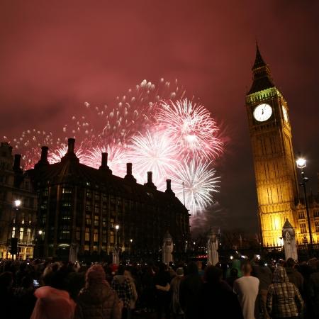 2012, Fireworks over Big Ben at midnight photo