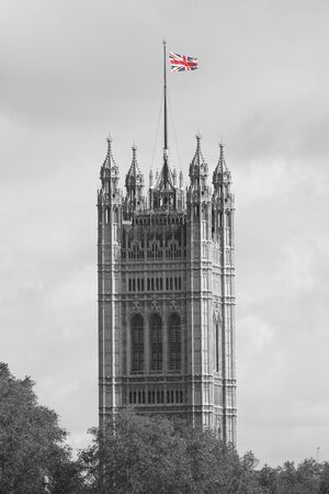 Victoria Tower seen from South Bank on a overcast sky