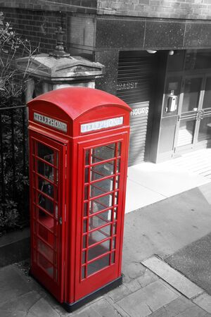 London Red Telephone Booth, black and white  photo