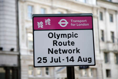 London, UK - July 26, 2012: Olympic Route Network sign in Westminster. The Network operate from the 25th July to the 14th of August 2012.