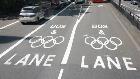 London, UK - July 26, 2012: London Olympic traffic restriction lane operate from15th July-11th September2012. Olympic Games Lanes are only open to athletes and officials for the duration of the London 2012 Games.