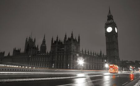 Snow Covered Westminster, seen from South Bank, at dawn.